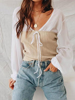 Beige Cotton Bandeau Chic Women Top And Chiffon V-neck Blouse