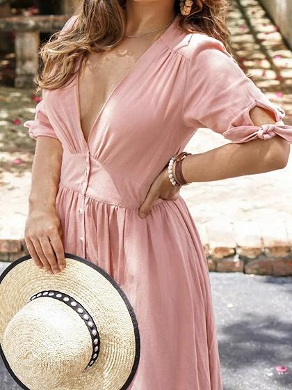 Pink Plunge Button Placket Front Chic Women Maxi Dress