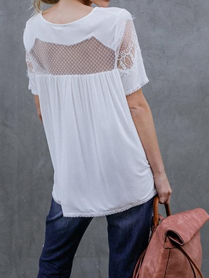 White Sheer Mesh Panel Chic Women Lace Blouse