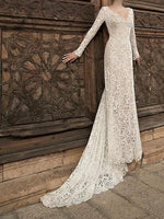 White V-neck Open Back Long Sleeve Chic Women Lace Maxi Dress