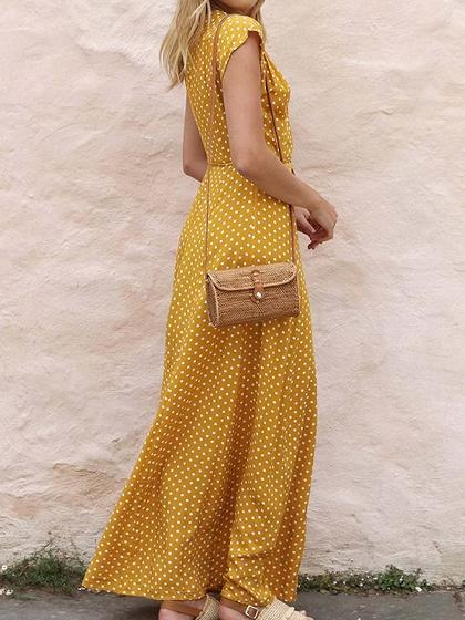 Yellow V-neck Polka Dot Print Tie Waist Chic Women Maxi Dress