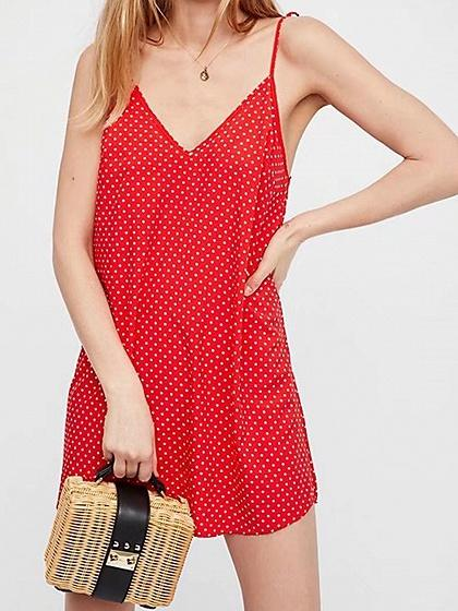 Red Cotton V-neck Polka Dot Print Chic Women Cami Mini Dress