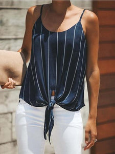 Black Stripe Chiffon Tie Front Chic Women Cami Top