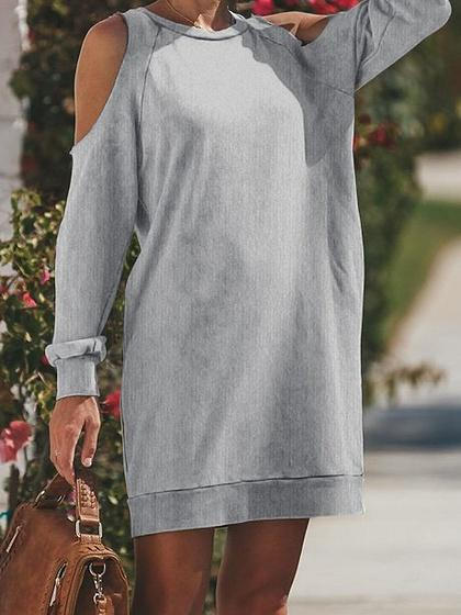 Gray Cold Shoulder Long Sleeve Chic Women Mini Dress