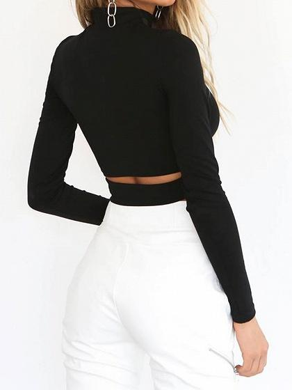 Black High Neck Long Sleeve Chic Women Knit Crop Blouse