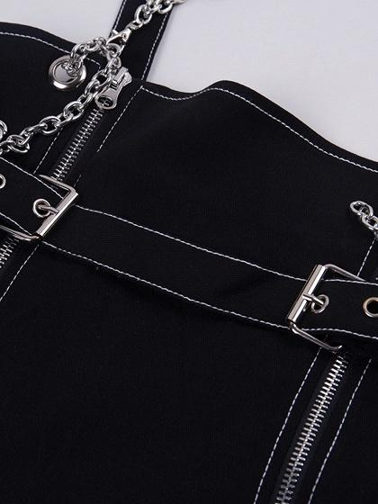Black Cotton Shoulder Strap Chain Detail Chic Women Mini Dress