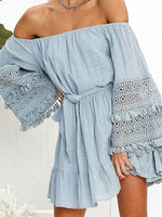Light Blue Off Shoulder Tie Waist Flare Sleeve Chic Women Mini Dress