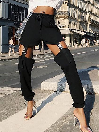 Black Cotton High Waist Buckle Strap Chic Women Pants
