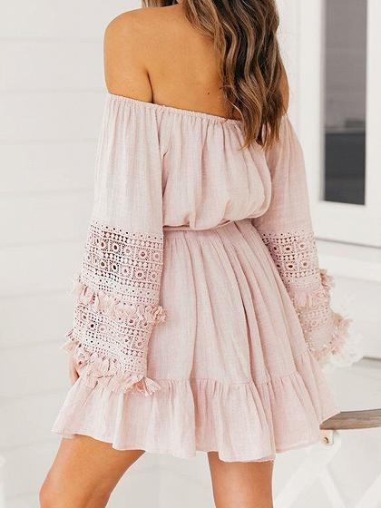 Pink Off Shoulder Tie Waist Flare Sleeve Chic Women Mini Dress
