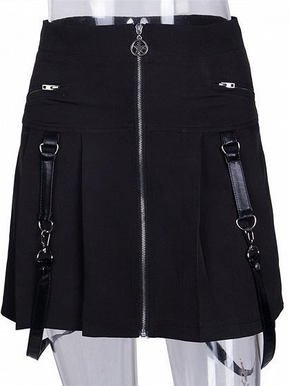 Black High Waist Buckle Strap Pleated Detail Chic Women Mini Skirt