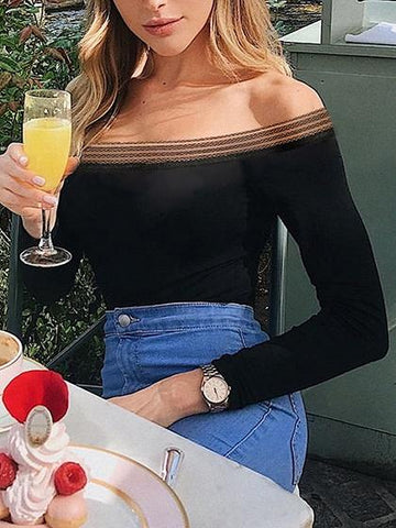 Black Cotton Off Shoulder Long Sleeve Chic Women Bodysuit