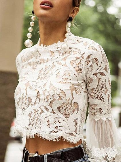 White Flare Sleeve Chic Women Lace Crop Blouse
