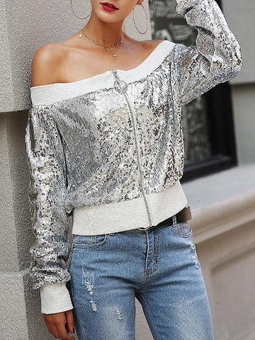 Silver Off Shoulder Sequin Detail Long Sleeve Chic Women Jacket