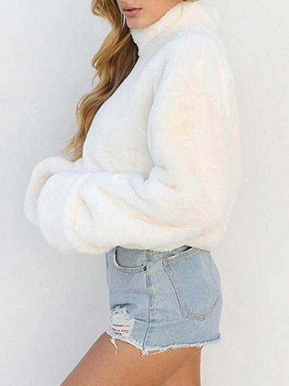 White Cotton Blend High Neck Long Sleeve Chic Women Sweatshirt