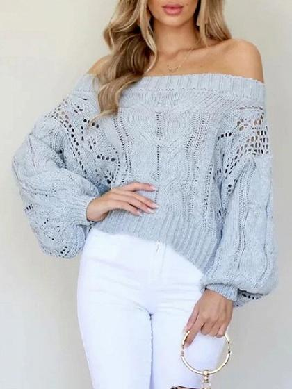 Gray Off Shoulder Puff Sleeve Chic Women Knit Sweater