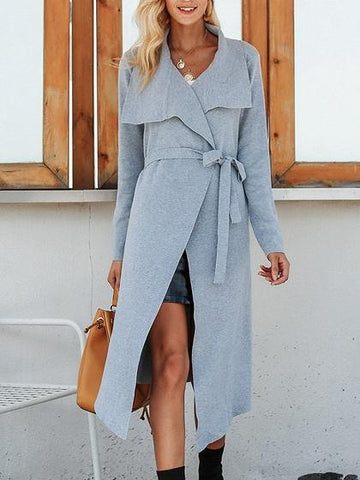 Gray Tie Waist Long Sleeve Chic Women Longline Knit Cardigan