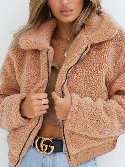 Camel Brown Faux Shearling Lapel Neck Long Sleeve Chic Women Fluffy Coat