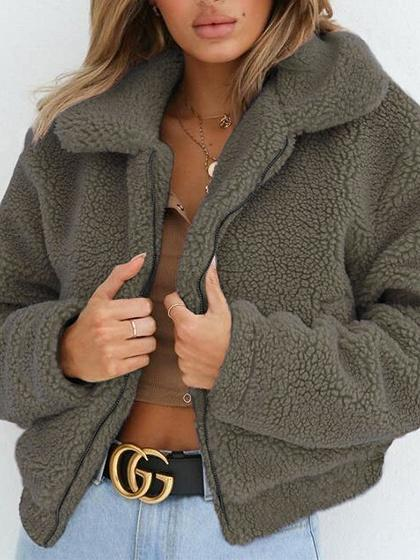 Army Green Faux Shearling Lapel Neck Long Sleeve Chic Women Fluffy Coat