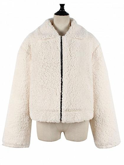 Beige Faux Shearling Lapel Neck Long Sleeve Chic Women Coat