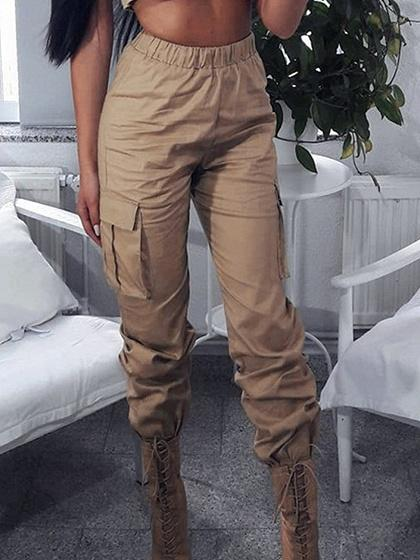 Beige Cotton High Waist Pocket Detail Chic Women Pants