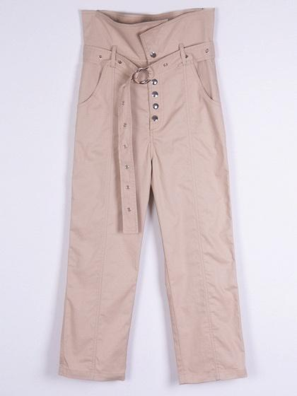 Beige High Waist Button Placket Front Chic Women Pants