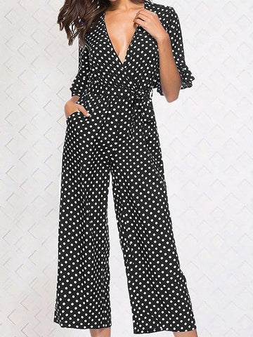 Black Plunge Polka Dot Print Ruffle Trim Chic Women Jumpsuit