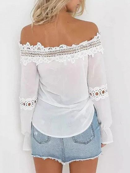 White Off Shoulder Lace Panel Long Sleeve Chic Women Blouse