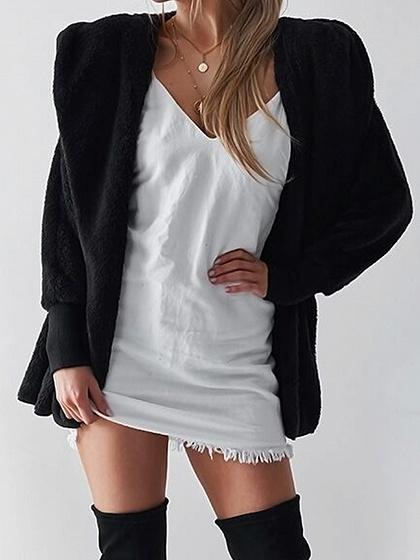Black Long Sleeve Chic Women Fluffy Hoodie Coat