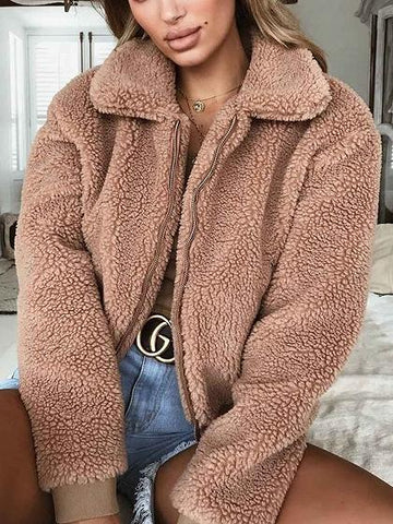 Camel Brown Faux Shearling Lapel Neck Long Sleeve Chic Women Coat