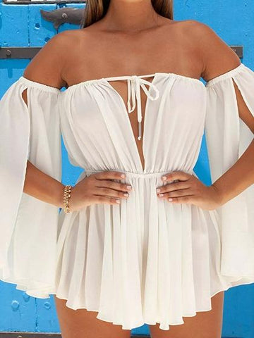 White Off Shoulder Open Back Flare Sleeve Chic Women Mini Dress