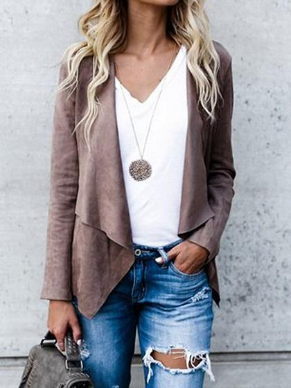 Brown Faux Suede Long Sleeve Chic Women Jacket