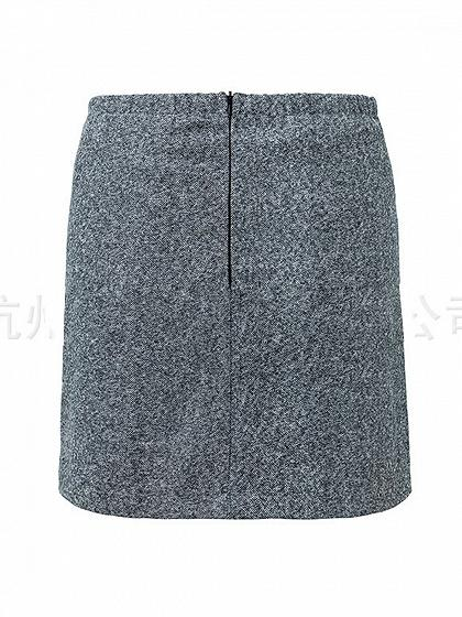 Gray High Waist Button Placket Front Chic Women Mini Skirt