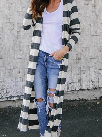 Gray Stripe Cotton Open Front Long Sleeve Chic Women Longline Cardigan