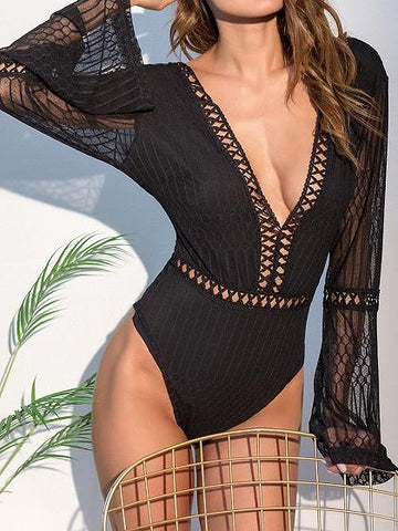 Black Plunge Sheer Mesh Panel Flare Sleeve Chic Women Bodysuit