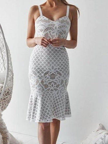 White V-neck Fishtail Hem Chic Women Lace Bodycon Cami Dress