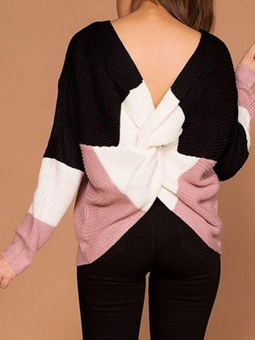 Black Contrast Open Back Long Sleeve Chic Women Knit Sweater
