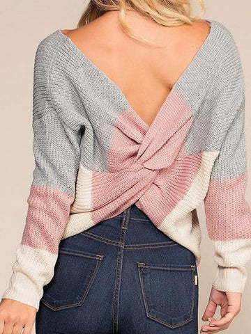 Pink Contrast Open Back Long Sleeve Chic Women Knit Sweater