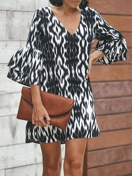 Black V-neck Leopard Print Flare Sleeve Chic Women Mini Dress