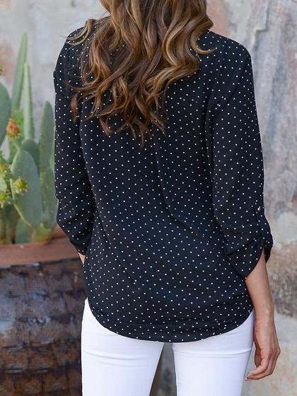 Black Chiffon V-neck Polka Dot Print Long Sleeve Chic Women Blouse