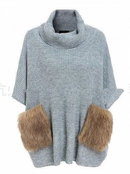 Gray High Neck Fluffy Pocket Batwing Sleeve Chic Women Knit Sweater