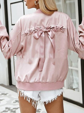 Pink Satin Look Eyelet Lace Up Back Long Sleeve Chic Women Coat