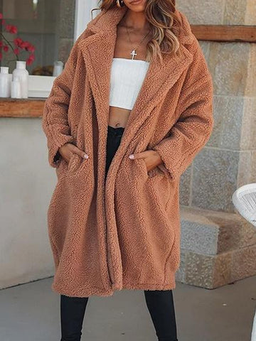 Khaki Lapel Neck Open Front Long Sleeve Chic Women Coat