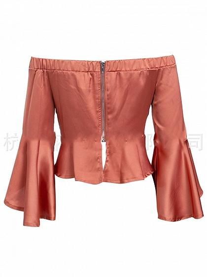 Orange Satin Look Off Shoulder Flare Sleeve Chic Women Crop Top