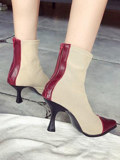 Burgundy PU Panel Chic Women Textile Pointed Toe Ankle Boots