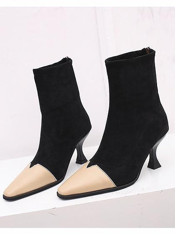 Beige Contrast PU Panel Chic Women Square Toe Ankle Boots