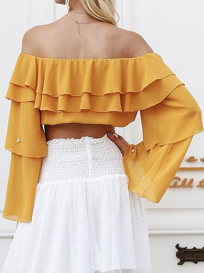 Yellow Off Shoulder Beaded Detail Flare Sleeve Chic Women Crop Blouse