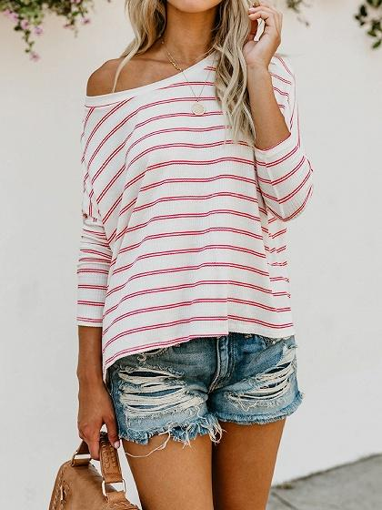 Pink Stripe Cotton Asymmetric Neck Long Sleeve Chic Women Blouse