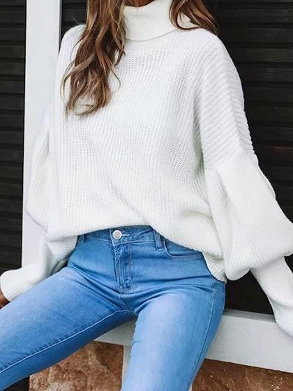 Beige High Neck Puff Sleeve Chic Women Knit Sweater
