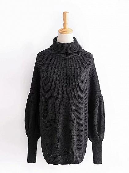 Black High Neck Puff Sleeve Chic Women Knit Sweater