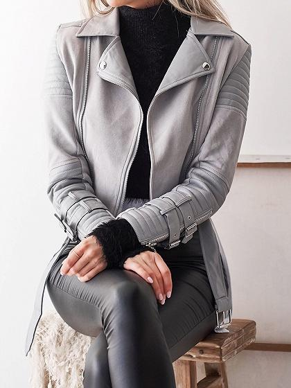 Gray Lapel Buckle Strap Long Sleeve Chic Women PU Jacket